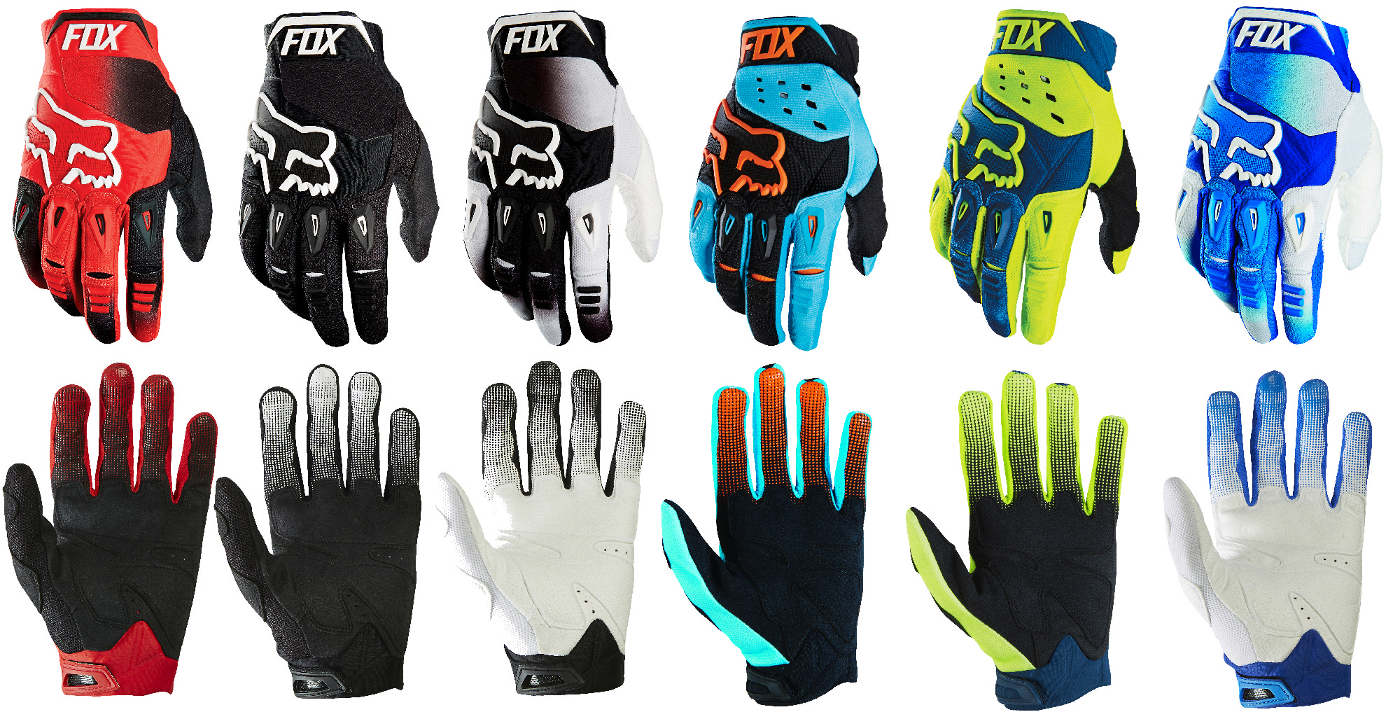 Mens sizes in gloves - Mens Aqua Blue Orange Black Fox Racing Pawtector Race Gloves