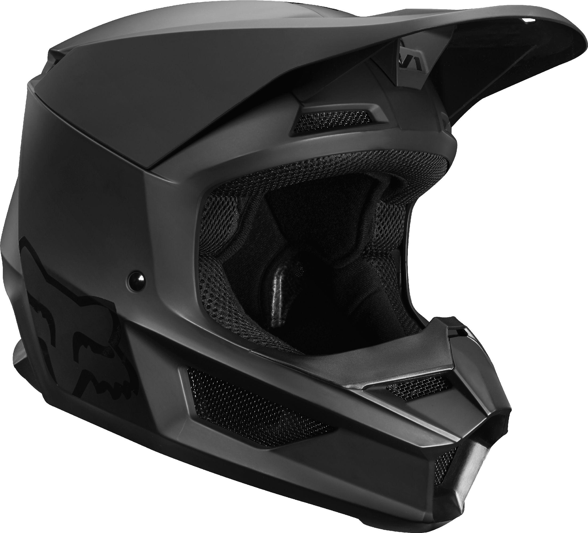 Dirt Bike Helmet With Visor >> Fox Racing Youth V1 Matte Black Dirt Bike Helmet Motocross Atv Utv