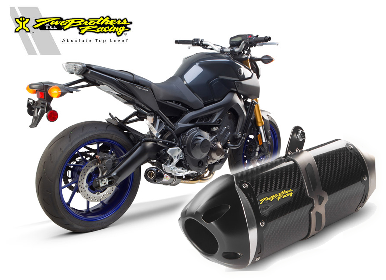 Two Brothers Racing SR1 Yamaha FZ9 FZ-9 Full System Carbon Fiber ...